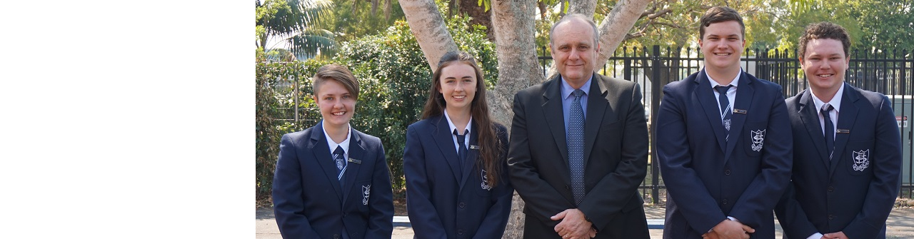 Grafton High School, school captains standing with principal, Peter South.